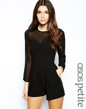 ASOS PETITE Playsuit with Sheer Sleeve
