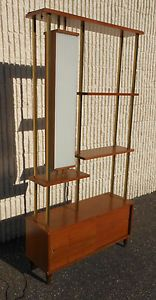 Mid Century Modern Room Divider Shelves Lighted With