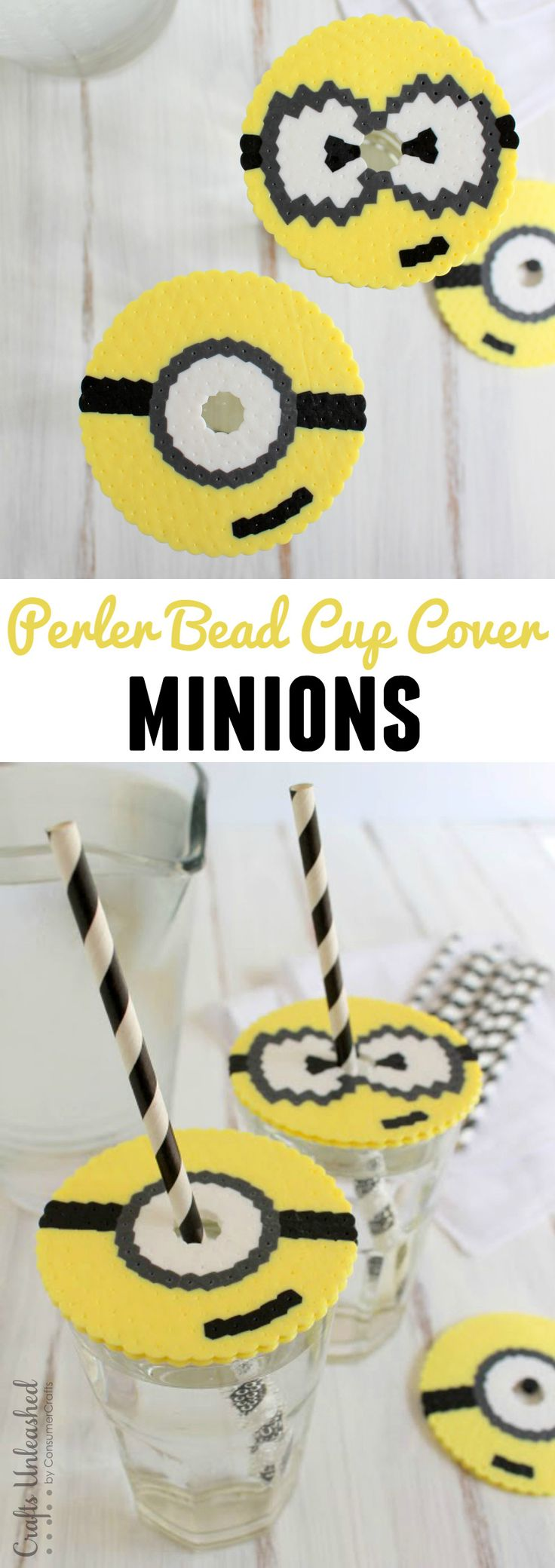 These DIY minion cup covers are perfect for keeping bugs out of your drink while on the patio. They're so easy & fun to make the kids will love them!