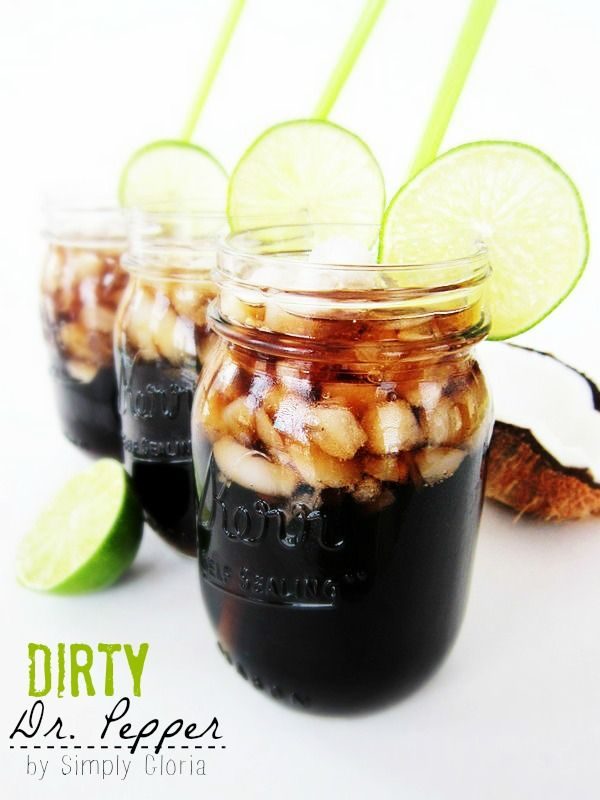 Dirty Dr. Pepper Author: SimplyGloria.com   This recipe makes 1 dirty drink. Ingredients 12 oz. can of Dr. Pepper (or your favorite soda) 2 oz. coconut syrup juice from 1 lime crushed ice Instructions Put crushed ice into a large glass. Pour soda, coconut syrup, and fresh lime juice into the ice. Stir and drink. Enjoy!
