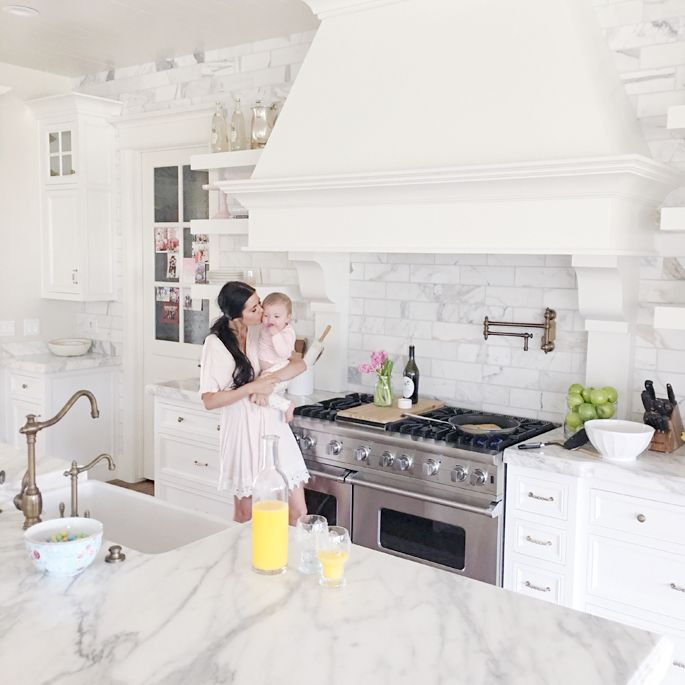 Pink Peonies by Rach Parcell | Her kitchen is beautiful.
