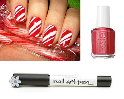 Candy cane nails nails amp make up pinterest
