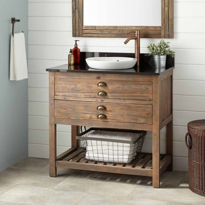 "36"" Benoist Reclaimed Wood Vanity for Semi-Recessed Sink - Gray Wash Pine"
