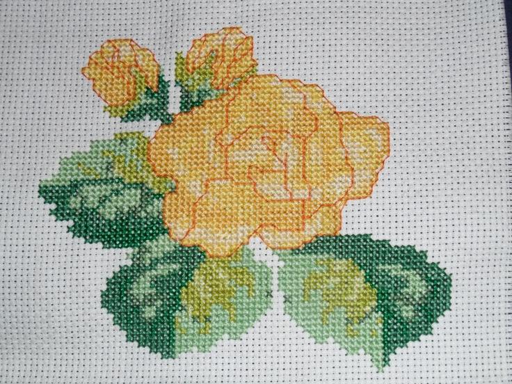 Yellow rose free-hand cross-stitch
