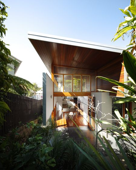 mountford road house is a small but dramatic extension to a post war house in new farm, an inner city suburb of brisbane