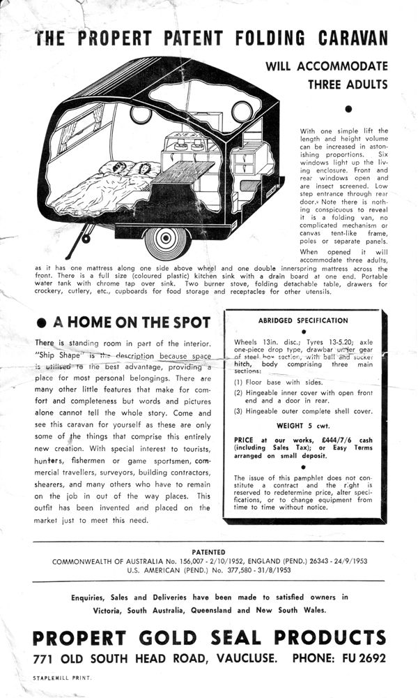1950s Propert Folding Caravan advertisement