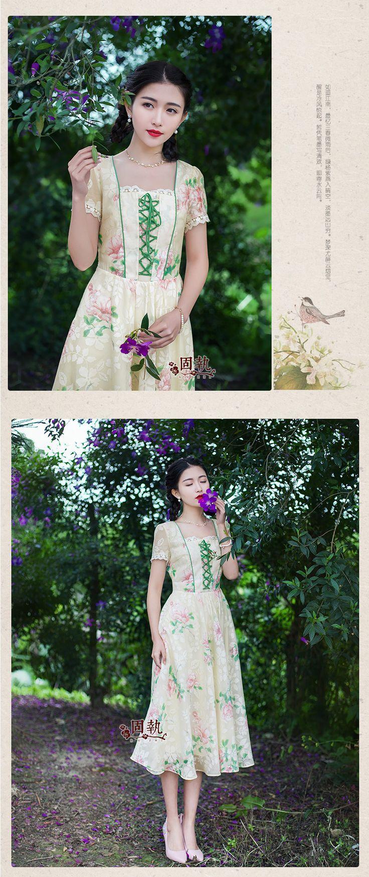Шифоновые платья - Предпродажная вещь упрямая, 2016 Женская мода весна и лето новые ретро кружева с коротким рукавом, цветочный принт, платье в платье.