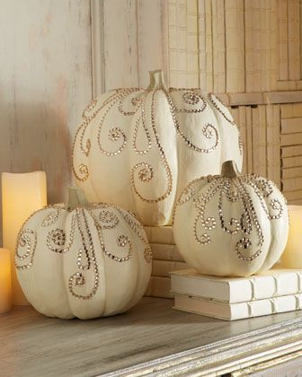 """Jeweled Pumpkins: """"Now these jeweled pumpkins by Horchow could easily be duplicated using a little glue, sequins and glitter."""""""