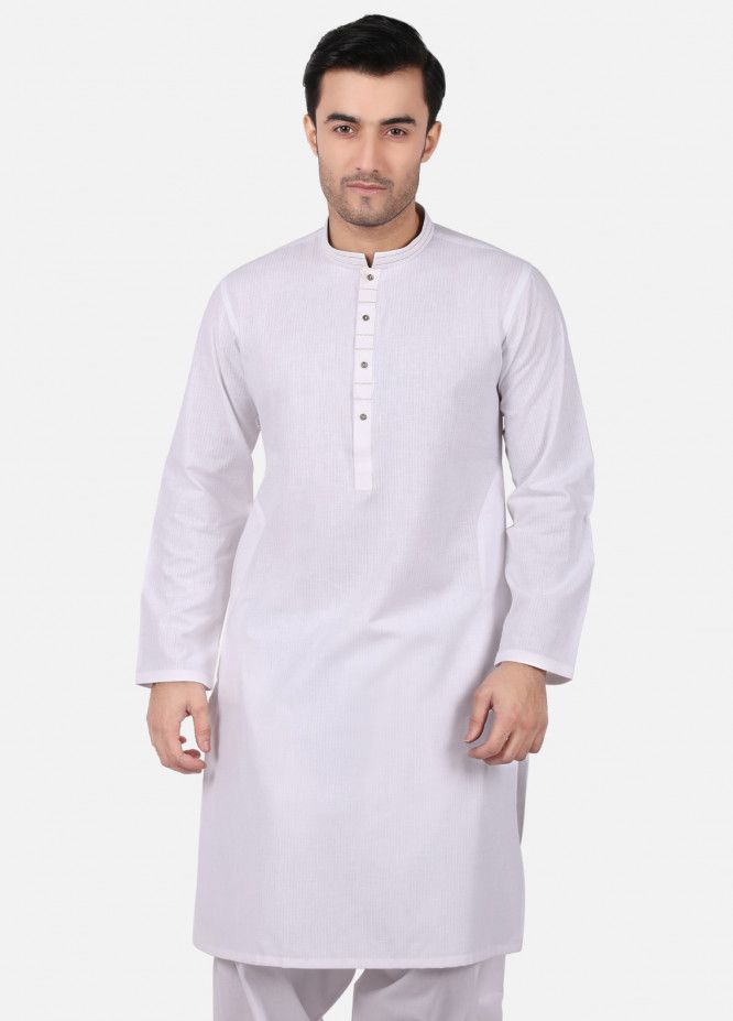 Edenrobe Cotton Plain Texture Men Kurtas White 009639 Mens