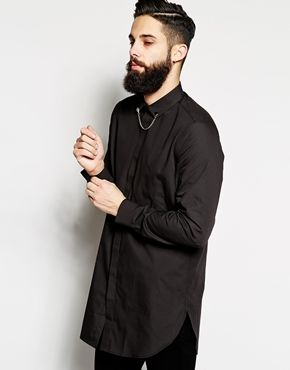 ASOS Smart Shirt In Longline With Collar Chain
