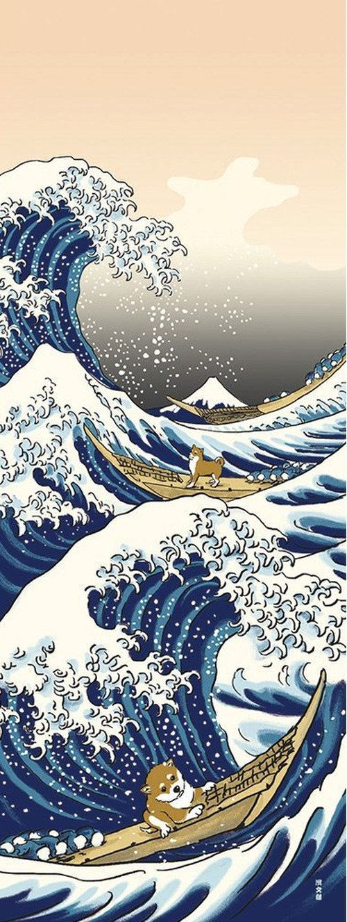Japanese Tenugui Cotton Fabric, Hand Dyed Fabric, Shiba Inu Dog, Big Wave, Boat, Ukiyoe Style Design, Wall Art Hanging, Gift Wrapping, JapanLovelyCrafts