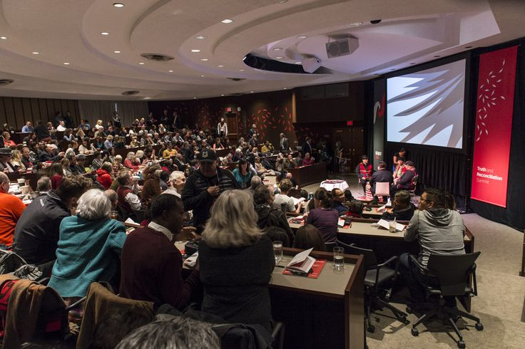 Participants gather in the Max Bell Auditorum at the Truth and Reconciliation Summit. Photo by Don Lee, courtesy of Banff Centre for Arts and Creativity