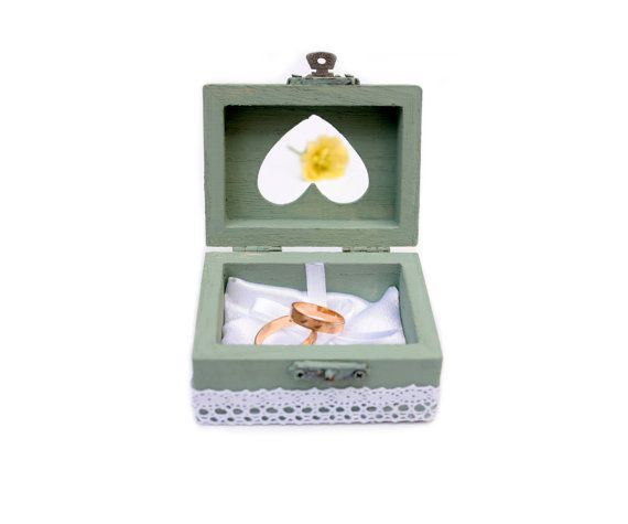 RING BOX with Pillow WEDDING pastel graygreen ring box by PilipArt, $24.00
