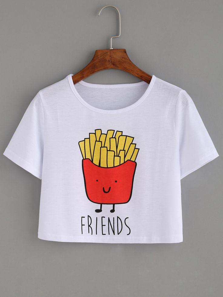 kurzes T-Shirt mit Druck - weiß