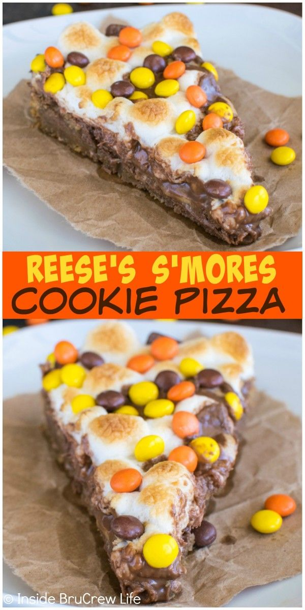 Layers of cookie, marshmallow, and 3 kinds of Reese's make this Reese's S'mores Cookie Pizza disappear in a hurry! Easy dessert recipe.