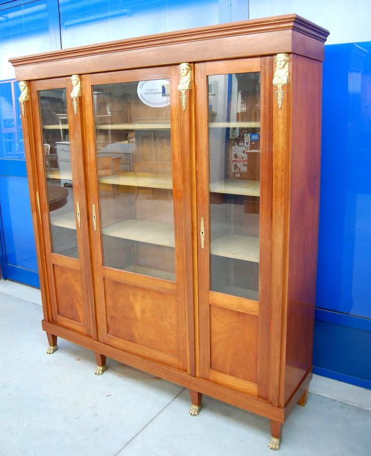 Libreria, vetrina, biblioteca 'Ritorno d'Egitto' mogano stile Impero bronzi+++