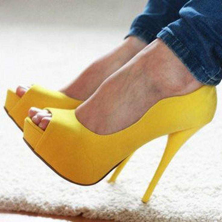Shoespie Yellow Platform Heels
