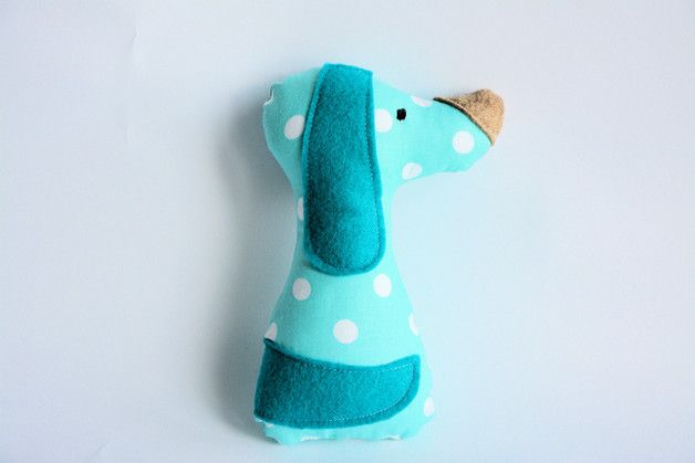 Piesek z naszych morskich groszków / Cute doggy sewn from our turquoise 10mm dots cotton fabric