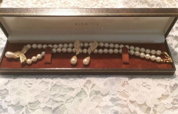 VINTAGE NAPIER DEMI PARURE NECKLACE EARRINGS GOLD P VTG GUCCI BRACELET BOX INC  | eBay