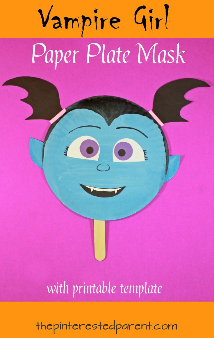 Vampirina inspired vampire girl paper plate mask with free printable template. Arts and crafts for kids. Perfect for Halloween or for pretend play.