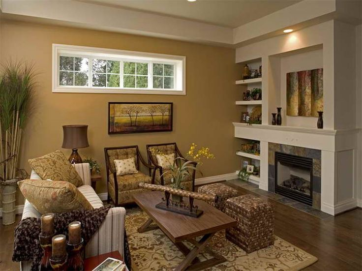 Livingroom design golden wall paint rustic table smooth - Accent colors for beige living room ...