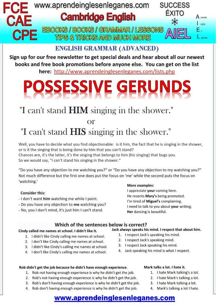 POSSESSIVE GERUNDS  FCE CAE CPE CAMBRIDGE ENGLISH KEY WORD TRANSFORMATION ADVANCED ENGLISH GRAMMAR
