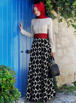 Robe De Jupe Motif Coeur - Noir-Beige - Gamze Polat