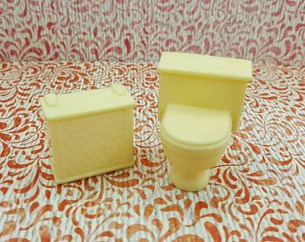 Luxury Marx Bathroom Toilet Hamper off white hard plastic Toy Dollhouse Traditional Style