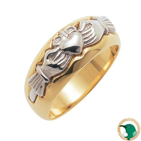 Two-tone gold Modern Claddagh ring shown here in 18ct white and yellow gold