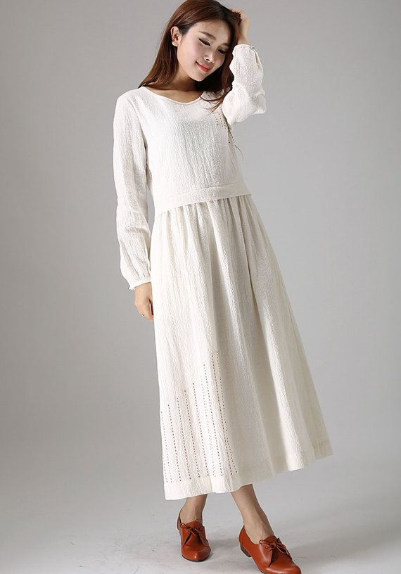 White linen dress woman casual maxi dress day dress by xiaolizi, $89.00