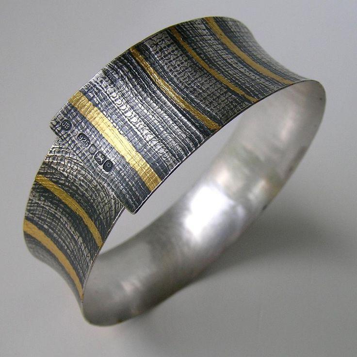 Jessica Briggs - oxidized silver bangle with fused gold
