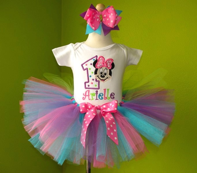 #MC Pink n Purple Minnie Mouse Birthday Tutu Set Outfit by PoshBabyStore.com
