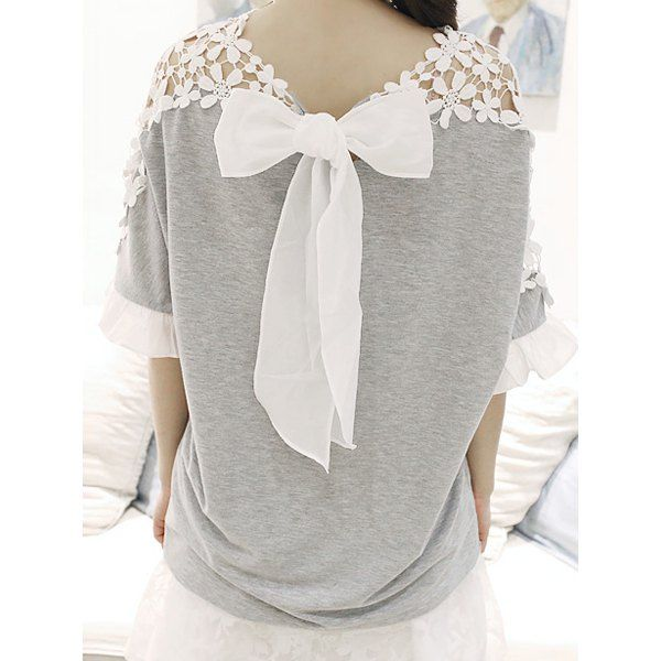 Stylish Jewel Neck Guipure Bow Embellished Flared Sleeve T-Shirt For Women
