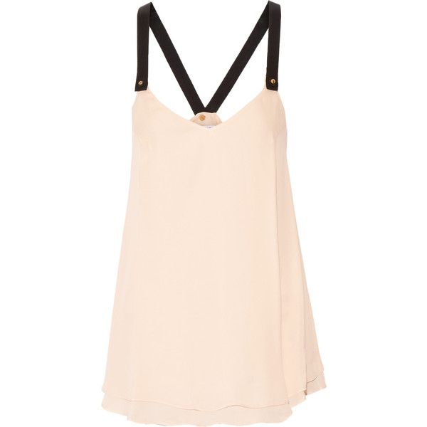 10 Crosby by Derek Lam - Stud-embellished Layered Silk Camisole (200 NZD) ❤ liked on Polyvore featuring neutral, seamless cami, pink silk camisole, layering camisole, silk camisole and silk cami