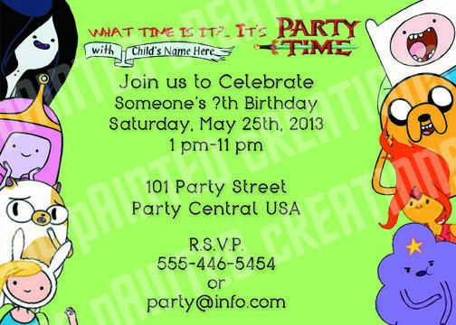 Adventure Time Birthday Invitations By Cscpaintedcreations On Etsy