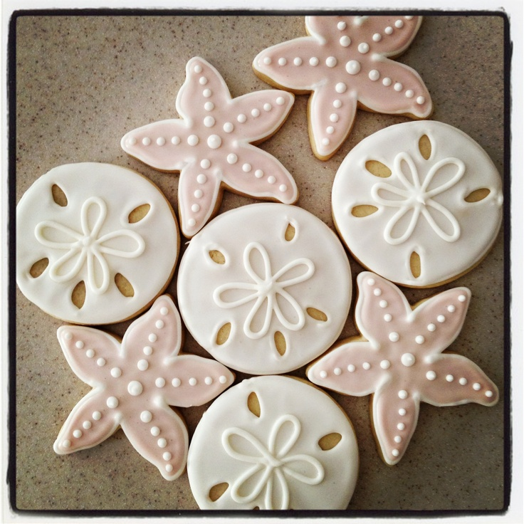 Sand dollar and starfish shaped cookies