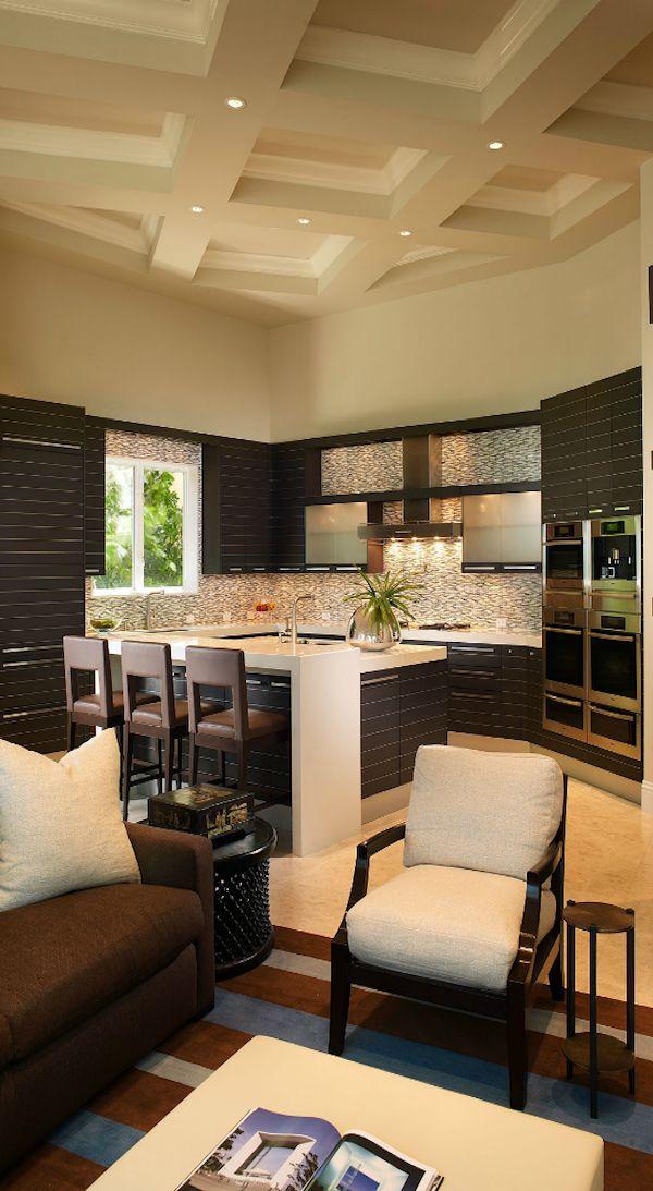 Modern Kitchen & living room - cocina, isla de cosina
