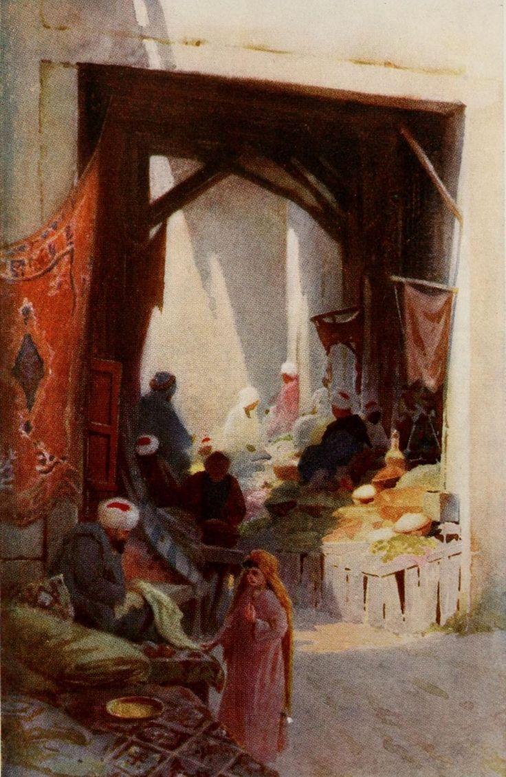 Kelly, Robert Talbot (1861-1934) - Egypt 1903, A Bazaar. #egypt