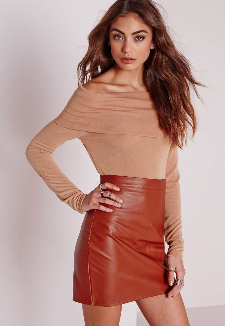 Missguided - Knitted Long Sleeve Bardot Top Nude