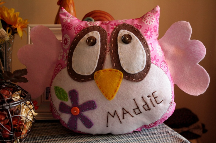 HOOT owl pillow  The Maddie Owl by EmilyAnnsKloset on Etsy, $20.00