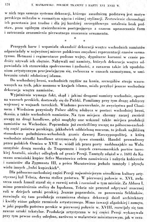 """10. Rozdział o namiotach - Z książki Tadeusza Mańkowskiego """"Polskie tkaniny i hafty XVI-XVIII wieku"""""""