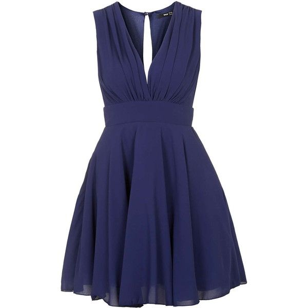 Nordi Sleeveless Mini Dress by Tfnc ($50) ❤ liked on Polyvore featuring dresses, navy blue, short blue dresses, blue party dress, navy dress, v neck cocktail dress and blue sleeveless dress