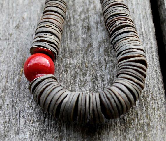 Asymmetrical Necklace Red Ceramic Gray Shell Geometric Scarlet Minimalist Summer Fashion Jewelry Silver Chunky Statement