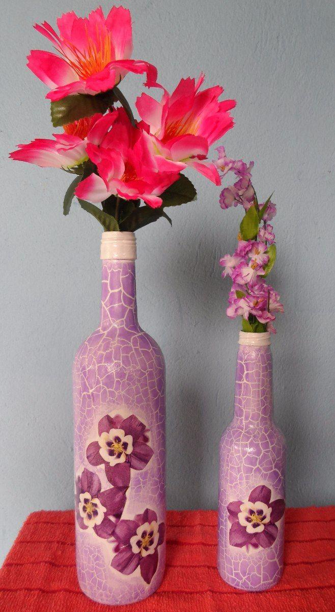 garrafa decorada em craquel e decoupage 917