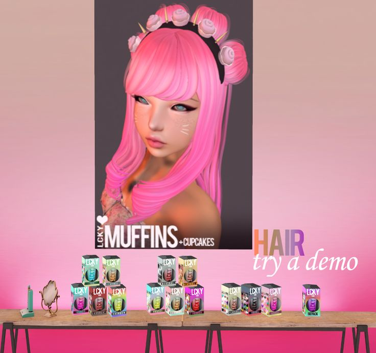[LCKY] Muffins Hair Each color pack $300L http://maps.secondlife.com/secondlife/The%20Emporium/149/162/485