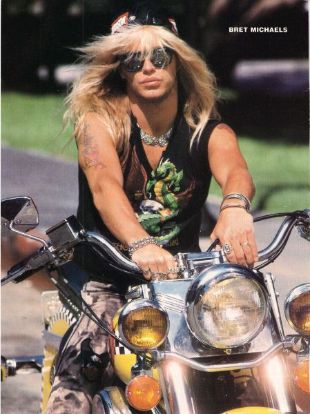 BRET MICHAELS pinup - Hot on motorcycle! Dragon shirt! - Natures Joy NY