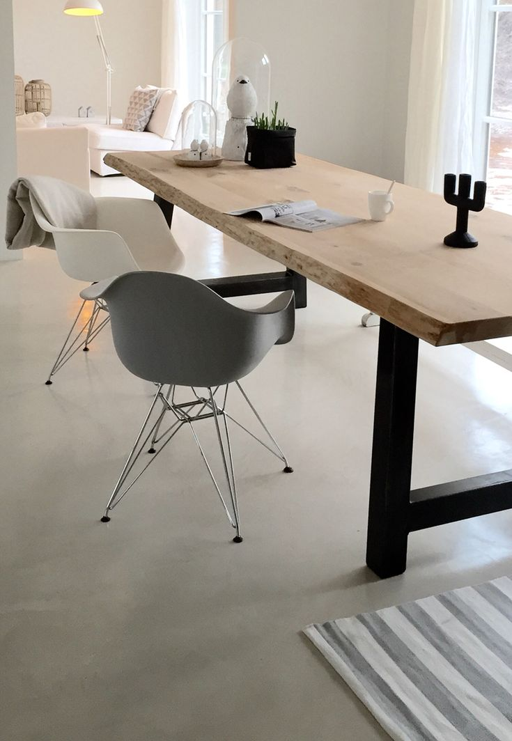 .Dining room table - natural slab on simple frame