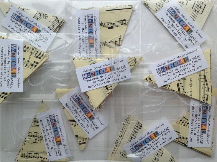 Wholesale - 10 Vintage Sheet Music Notes Paper Heart Garlands - Packaged for Resale - Wedding Decor