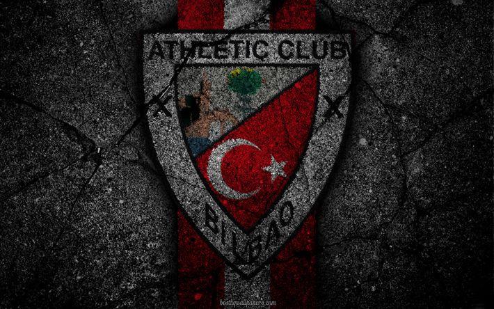 Download wallpapers Athletic Bilbao, logo, art, La Liga, soccer, football club, LaLiga, grunge, Athletic Bilbao FC