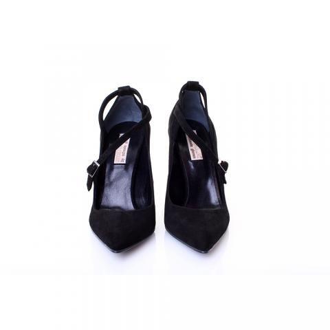 Pantofi piele intoarsa neagra | The Boutique